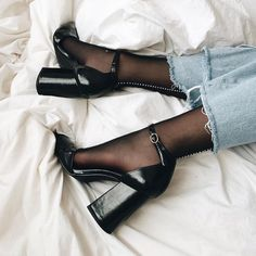 Black Suede Block Heels Almond Toe Platform Ankle Strap Pumps for Night club, Dancing club, Music festival, Big day, Hanging out Stilettos, Stiletto Heels, High Heels, Pumps, Black Heels, Black Suede, Sock Shoes, Cute Shoes, Me Too Shoes