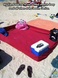 Use fitted sheet at the beach