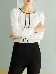 Shop Blouses - Keyhole Casual Long Sleeve Blouse online. Discover unique designers fashion at StyleWe.com.