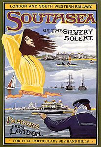 Southsea London (England, U.K.) - Vintage Railway Travel Beach Poster, Art Nouveau ca. 1900 #essenzadiriviera - www.varaldocosmetica.it/en