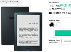 """Kindle A568 8 ª Geração - Unico Tela de 6"""" sem reflexo e sensível ao toque Wi-Fi >"""