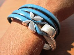 women blue leather bracelet sterling silver plated half by kekugi