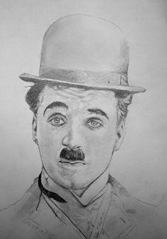 Portrait of Charlie Chaplin by cipta on Stars Portraits - 4 Easy Drawings Sketches, Dark Art Drawings, Pencil Art Drawings, Charlie Chaplin, Pencil Portrait Drawing, Portrait Art, Portraits, Indian Art Paintings, Celebrity Drawings