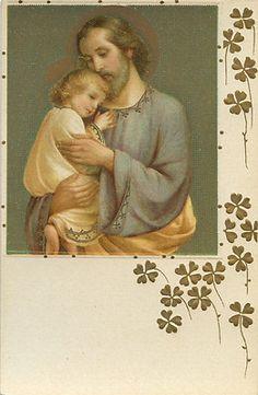 Antique Holy Card Joseph & Christ Child