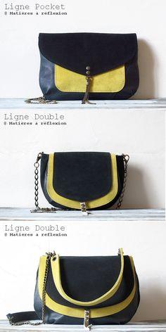 Matières à réflexion lignes Pocket et Double jaune/encre #matieresareflexion #pocket #double #piccolo #miniluna #pochette #enveloppe #jaune #encre #laiton #cuir #yellow #leather #daim #suede #sac #bag #madeinfrance #madeinparis #createur #fashion #ss15
