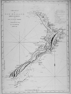 Captain Cook's map of New Zealand, drawn in 1770