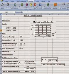 Cálculo de Cómputos métricos en Muros de Ladrillos http://ht.ly/DR9iP   #HojasdeExcel #Isoluciones #SoftWare