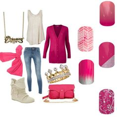Jamberry spring summer 2015! Finally more pinks! I love this skinny jean flowy tank pink cardigan outfit. I'd probably do a ballet flat though. #kissmeombre #sorbet #prettyinpink #gonedancing #silverfloralonmagenta www.marysberry.jamberrynails.net