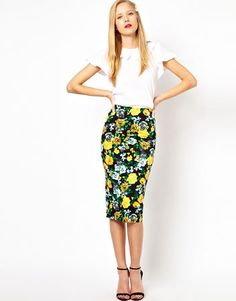 pencil skirt outfits | Pencil skirt in floral print, $60, asos.com
