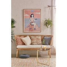 Jens Woven Windsor Sofa (12.071.805 IDR) ❤ liked on Polyvore featuring home, furniture, sofas, wood sofa, bohemian style furniture, urban outfitters furniture, wood furniture and wooden furniture