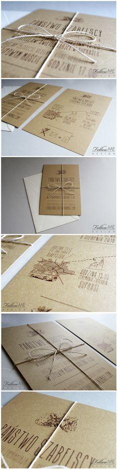 Rustykalne zaproszenia ślubne, Zaproszenia ślubne z kolekcji Natura / Rustic Wedding Invitation, Rustic Decorations & Details