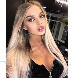 2019 New Design - Flawless V Shape Widow's Peak - Realistic Foggy Brown Rooted Platinum Blonde Lace Front Wigs for Women Silky Straight Hair Wig 22 inches Transparent Lace Blonde Lace Front Wigs, Straight Lace Front Wigs, Blonde Wig, Synthetic Lace Front Wigs, Ash Blonde, Platinum Blonde, Front Lace, Frontal Hairstyles, Wig Hairstyles