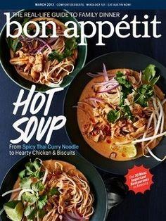 Bon Appétit Magazine, March 2013 (searchable index of recipes)