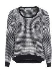 Grid Pattern Asymmetric Hem Long Sleeve Sweater