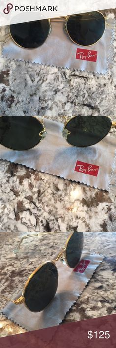 VINTAGE B&L Rayban round sunglasses B&L Ray Ban USA round vintage (circa 1990) sunglasses style W1573 WVAS. Very lightly used, black lenses no scratches. Includes case. No trades. Ray-Ban Accessories Sunglasses