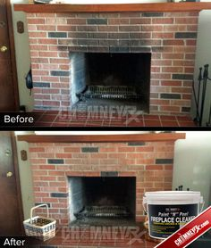 Smoke Stains On A Fireplace Before And After Being Cleaned With Paint N L Cleaner