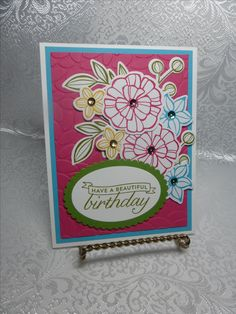 Falling Flowers Stamp Set, Birthday Blossoms Stamp Set, Melon Mambo, Crushed Curry, Tempting Turquoise, Old Olive, and Whisper White Cardstock, same color inks, sequins. Petal Burst Embossing Folder, Layering Ovals Framelits.