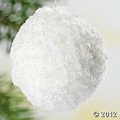 snowball ornaments: cover in glue and dip in epson salt and glitter!