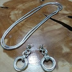 Very Long Sterling  Silver 925 Heavy Necklace  and earrings