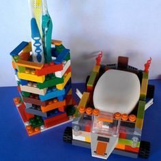 a toothbrush holder and a soap dish, on wheels no less, made from LEGOS... o-m-GENIUS.