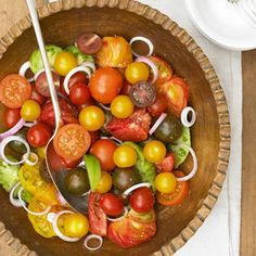 Tomato and Red Onion Salad Choose a variety of heirloom and farmstead tomatoes for this recipe. Prepare them whole, sliced, and cut in wedges to make a colorful salad.