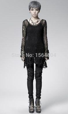 Punk Gothic SWEATER Visual Kei fashion Kera Black Shirt Top TOP Black Steampunk pullover Alternative Measures