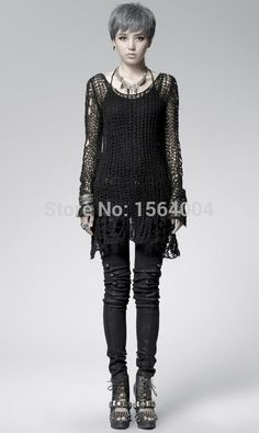 Punk Gothic SWEATER Visual Kei fashion Kera Black Shirt Top TOP Black Steampunk pullover Alternative Measures