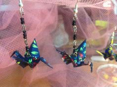 I made new earrings! :) (since these are small, made from papers, I can use all the leftovers from bigger origami works. Recycled Materials, Origami, Recycling, Brooch, Chain, Bracelets, Earrings, Jewelry, Ear Rings