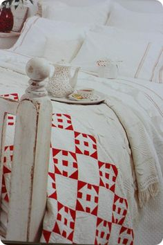 From Country Living Making and Displaying Quilts - blogged by http://sometimescrafter.blogspot.com xx quilt pieced red white solids churn dash xx