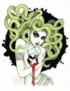 """Medusa in Vignette"" Watercolor and Ink Illustration - Leilani Joy Medusa Gorgon, Medusa Kunst, Medusa Art, Medusa Drawing, Medusa Tattoo, Fantasy Kunst, Fantasy Art, Evvi Art, Arte Dope"