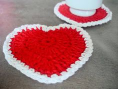 Valentine crochet coasters
