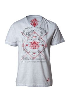 The flourished sigil of the assassins of old is stamped in blood-red across an inking of the ancient world, as the colors mesh subtly with this stone-grey v-neck tee that calls to mind ancestral memories. The unmistakable modern assassin's symbol is stamped at the hem.