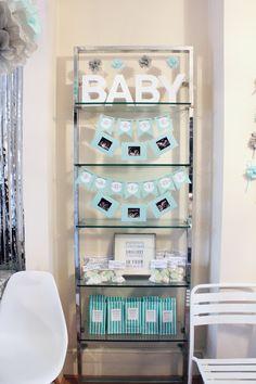 // silver mint & grey winter gender neutral baby shower