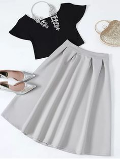 Cropped Tee and Midi Flare Skirt - BLACK AND GREY L