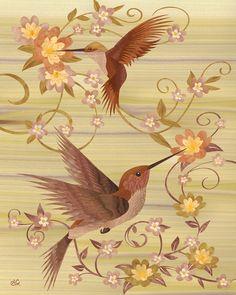 Hummingbirds - Marquetry by *amazoncanvas on deviantART