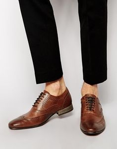 $123, Brown Leather Brogues: Base London Nutmeg Brogues. Sold by Asos. Click for more info: http://lookastic.com/men/shop_items/143433/redirect