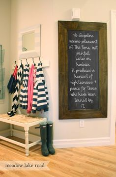 tutorial for DIY chalkboard...love the chunky frame!