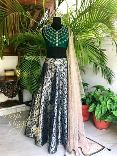 Once upon a dream. Midnight blue kimkhwab lehenga with an emerald green raw silk choli, teamed with a nude toned net dupatta with mukaish work. The embroidery on the choli has been inspired by the Nizams Jewels. Lehenga Choli Latest, Lilac Grey, Organza Saree, Daily Style, Woman Clothing, Indian Designer Wear, Saree Blouse, Scarf Styles, Indian Dresses