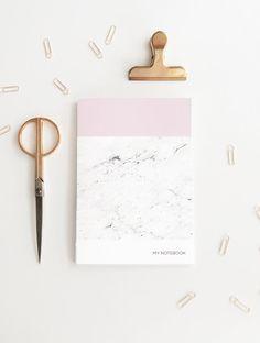 Stylish Pink Marble Notebook | Modern Stationery | Minimalist Diary | A5 Pink…