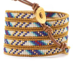 Chan Luu - Blue Mix Beaded Wrap Bracelet on Henna Leather, $210.00 (http://www.chanluu.com/wrap-bracelets/blue-mix-beaded-wrap-bracelet-on-henna-leather/)