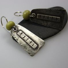 Silver and butter jade earrings Notches £42.00