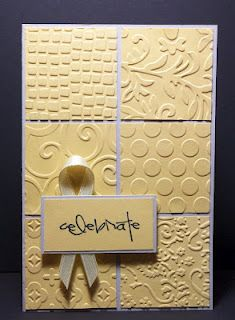 embossing folders, cut to equal squares Kathy and Kids: PbD Anniversary Challenge Cool Cards, Diy Cards, Karten Diy, Embossed Cards, Embossed Paper, Card Tags, Anniversary Cards, Wedding Anniversary, Anniversary Ideas