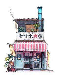 Mateusz Urbanowicz- Tokyo storefront #01 - giclee print #watercolorarts