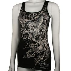 """Great desing work SHADED FLEUR Tank Top with rhinestones on front and back. $25.00 + FREE shipping when you enter the coupon code """"PINTEREST"""" during checkout online #fleurdelis #LSU #LA #madeinusa #fashion"""