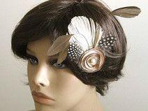 UNIKAT headpiece Federn Blume taupe braun beige