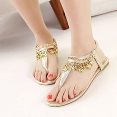 Sequin Embellished Upper Metal Plates Flat Sandals Girls Sandals, Flat Sandals, Girls Shoes, Flats, Shoe Advertising, Nice Toes, Uncut Diamond, Beautiful Shoes, Casual Shoes