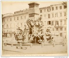 Piazza Navona. Fontana Bernini Circa 1880 Piazza Navona, Louvre, Building, Travel, Vintage, Rome, Italia, Viajes, Buildings