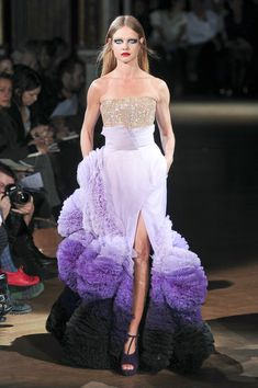Who wore Givenchy's decadent purple couture dress?