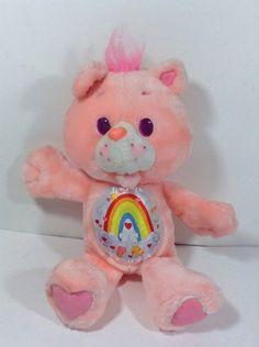 Vintage 1991 Cheer Bear Care Bear Environmental Kenner Fish Rainbow Pink Plush  | eBay
