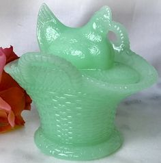 Jadeite Green Antique Style Glass Hen Basket Candy Dish | eBay
